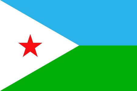 Simple flag of Djibouti. Correct size, proportion, colors.