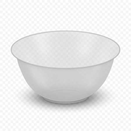 Realistic glass bowl isolated on transparent background