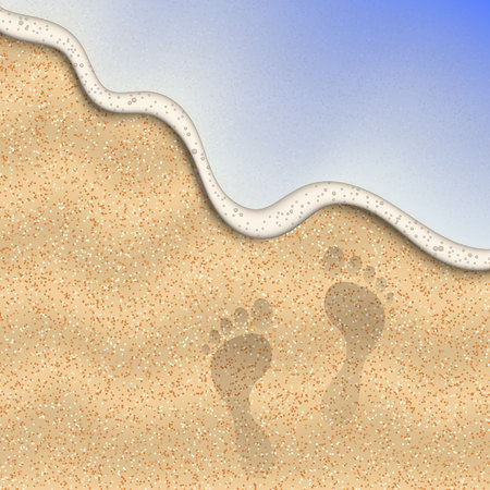 Sand of the beach with foot print