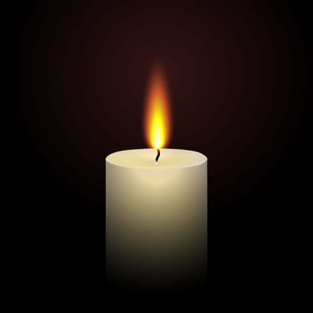 realistic paraffin burning candle isolated on black Vector Illustration