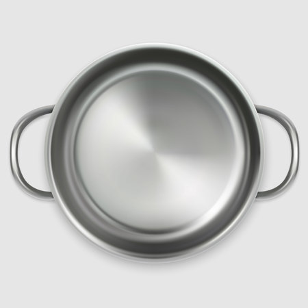 realistic empty pan in top view isolated on white background Çizim