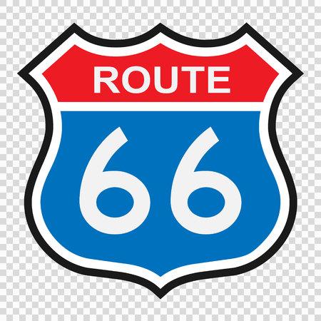 Segno della route 66 degli Stati Uniti, segno dello scudo con numero di percorso Vettoriali