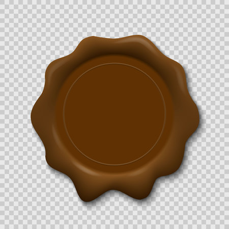 Wax seal on transparent background. Realistic old stamp