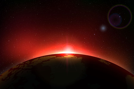 Planet earth sunrise. Globe Horizon atmosphere