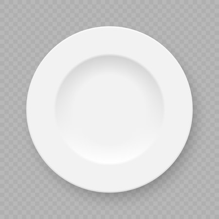 Realistic white plate dish isolated on transparent background.