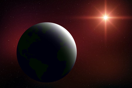 Realistic space background with planet Earth in the universe