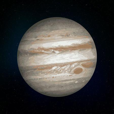 Jupiter realistic Planet of Solar System vector illustration