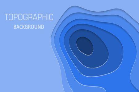 Papier géométrique coupé fond, carte topographique cpncept. Illustration vectorielle