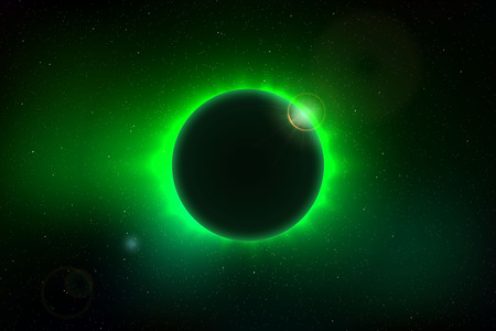 Space background with total solar eclipse
