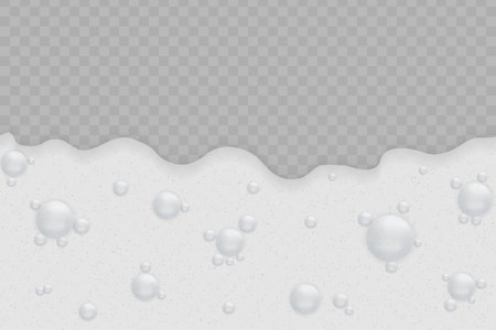 Foam background with bubbles on transparent background.Soap texture