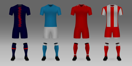 Set of 3D realistic template soccer jersey PSG, Napoli, Liverpool, Red Star t-shirt with pants and socks on shop backdrop. Mockup of football team uniform Stock Illustratie
