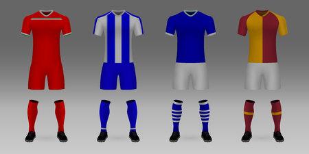 Set of 3D realistic template soccer jersey Lokomotiv Moscow, Porto, Schalke, Galatasaray. t-shirt with pants and socks on shop backdrop. Mockup of football team uniform Vectores