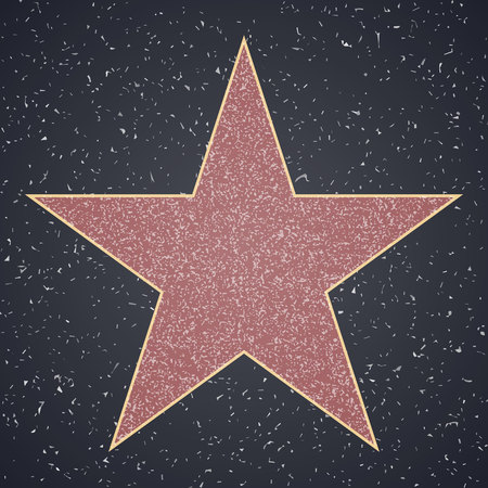 Walk Of Fame. star blank template on granite square background, sign of personal achievements Çizim