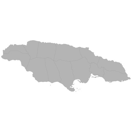 High quality map of Jamaica with borders of the regions on white background