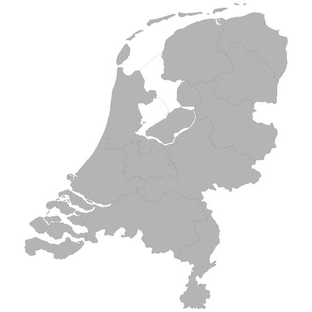 High quality map of Netherlands with borders of the regions on white background