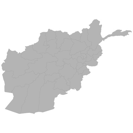 High quality map of Afghanistan with borders of the regions on white background