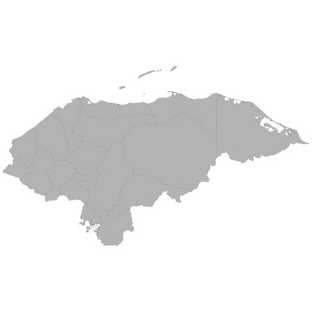 High quality map of Honduras with borders of the regions on white background