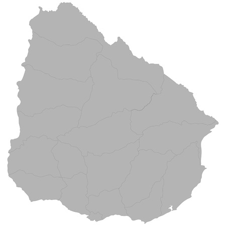 High quality map of Uruguay with borders of the regions on white background