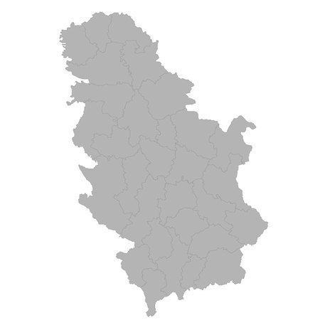 High quality map of Serbia with borders of the regions on white background