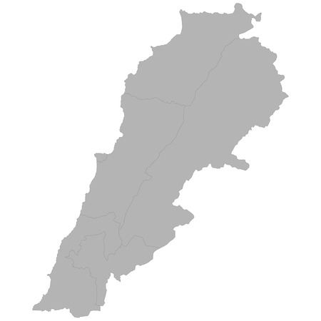 High quality map of Lebanon with borders of the regions on white background