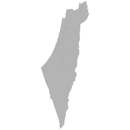 High quality map of Israel with borders of the regions on white background 矢量图像