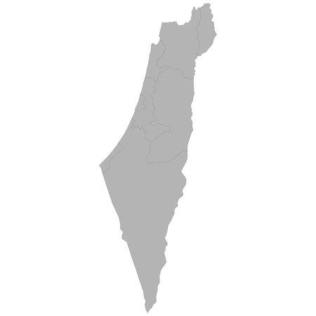 Mappa di alta qualità di Israele con i confini delle regioni su sfondo bianco