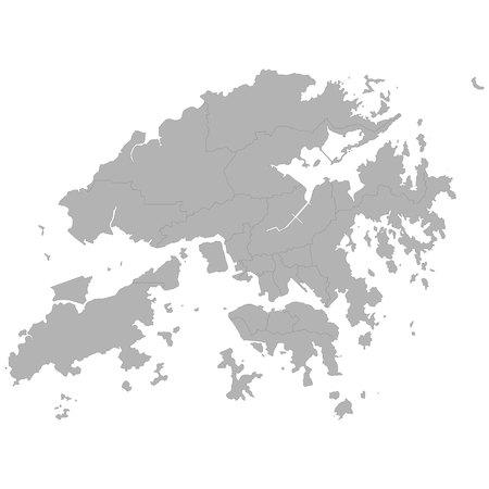 Mapa de alta calidad de Hong Kong con las fronteras de las regiones sobre fondo blanco.