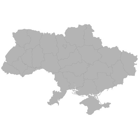 High quality map of Ukraine with borders of the regions on white background Ilustração