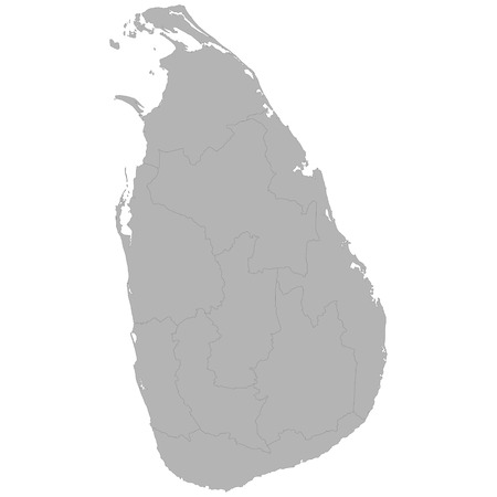 High quality map of Sri Lanka with borders of the regions on white background