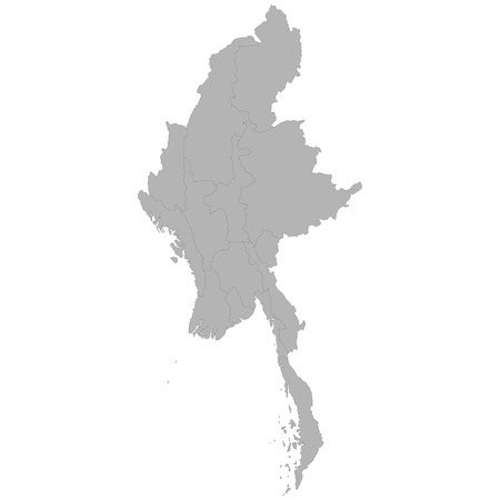 High quality map of Myanmar with borders of the regions on white background