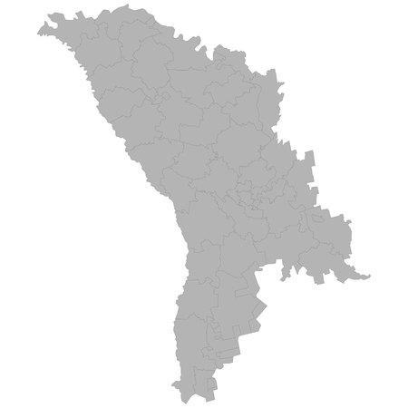Mapa de alta calidad de Moldavia con las fronteras de las regiones sobre fondo blanco.