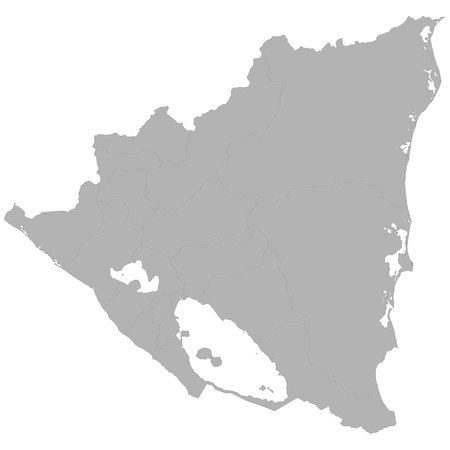 High quality map of Nicaragua with borders of the regions on white background