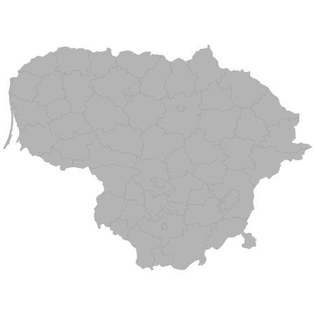 Mapa de alta calidad de Lituania con las fronteras de las regiones sobre fondo blanco.