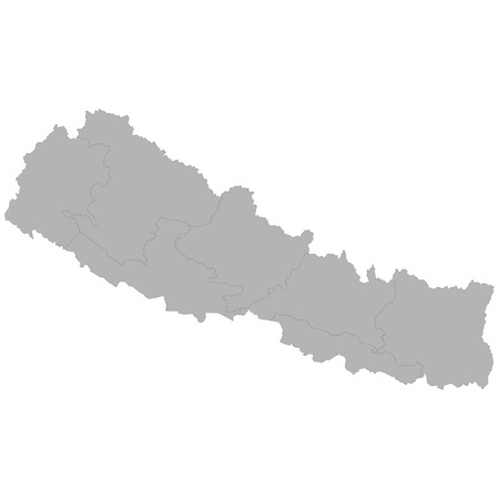 High quality map of Nepal with borders of the regions on white background