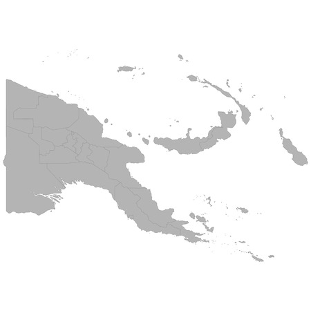 High quality map of Papua New Guinea with borders of the regions on white background