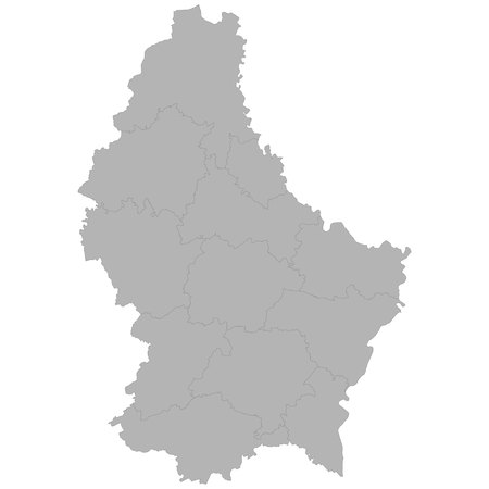 High quality map of Luxembourg with borders of the regions on white background
