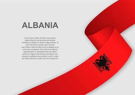 waving flag of Albania. Template for independence day. vector illustration