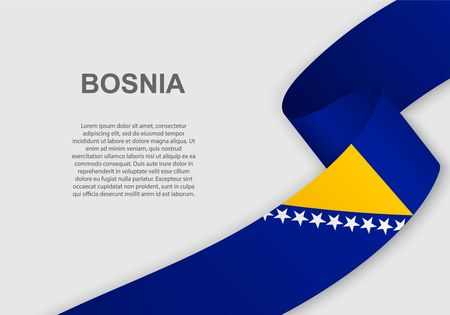 waving flag of Bosnia. Template for independence day. vector illustration Illustration