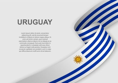 waving flag of Uruguay. Template for independence day. vector illustration