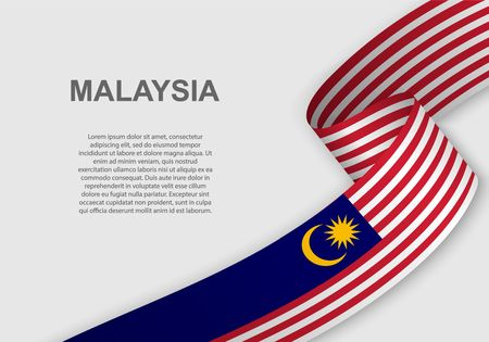 waving flag of Malaysia. Template for independence day. vector illustration Çizim