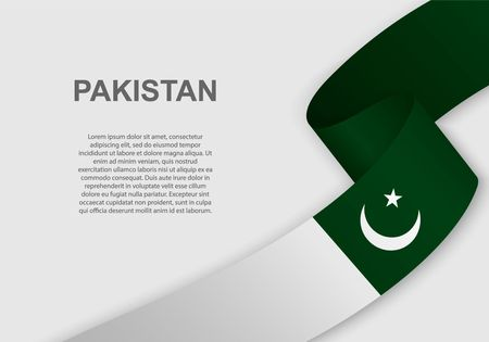 waving flag of Pakistan. Template for independence day. vector illustration Vecteurs