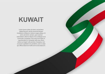brandissant le drapeau du Koweït. Modèle pour le jour de l'indépendance. illustration vectorielle Vecteurs