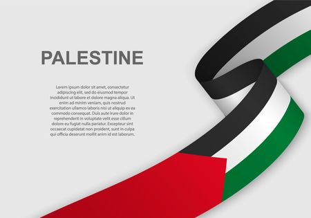 waving flag of Palestine. Template for independence day. vector illustration Ilustração