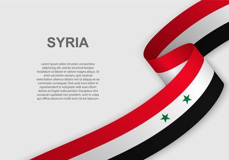 agitant le drapeau de la Syrie. Modèle pour le jour de l'indépendance. illustration vectorielle