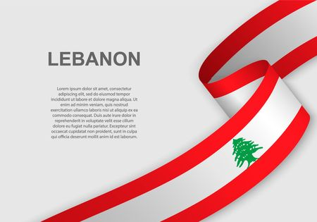 waving flag of Lebanon. Template for independence day. vector illustration Vectores