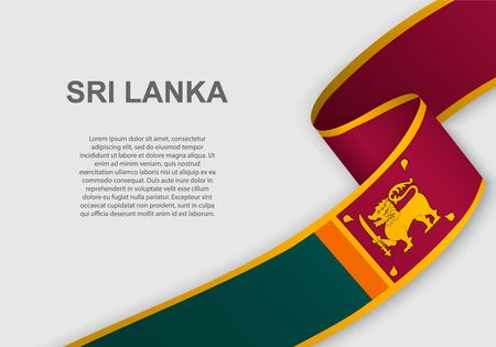 waving flag of Sri Lanka. Template for independence day. vector illustration  イラスト・ベクター素材