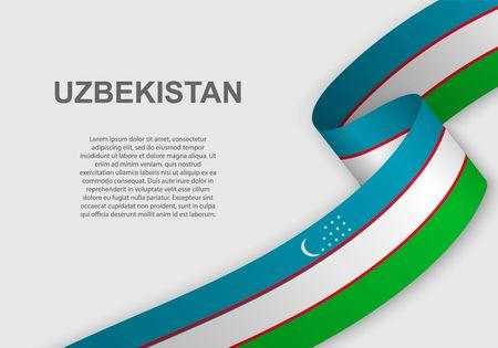 waving flag of Uzbekistan. Template for independence day. vector illustration