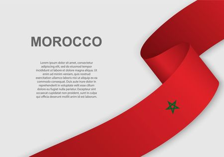 waving flag of Morocco. Template for independence day. vector illustration