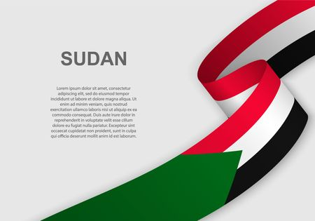 waving flag of Sudan. Template for independence day. vector illustration Ilustrace