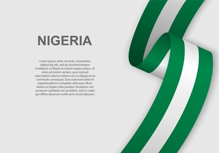 waving flag of Nigeria. Template for independence day. vector illustration  イラスト・ベクター素材